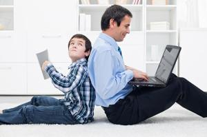 Father and his son at home